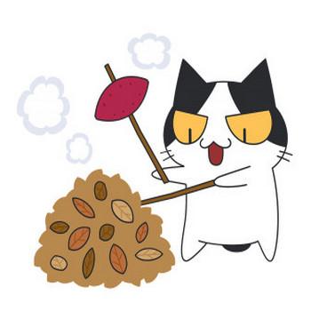 落ち葉で焼き芋をする猫【無料イラスト・フリー素材】