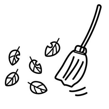 落ち葉掃除のイラスト | かわいい無料の白黒イラスト モノぽっと