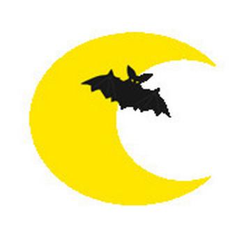 ハロウィン三日月とコウモリのイラスト-無料イラスト/フリー素材