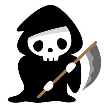 【ハロウィンのイラスト】鎌を持った可愛い死神(骸骨)   無料フリーイラスト素材集【Frame illust】