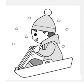 » 冬のソリ遊び・雪遊びの子供のイラスト / 白黒印刷用   可愛い無料イラスト素材集