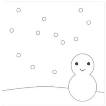 雪と雪だるまのシンプルイラスト <無料>   イラストK