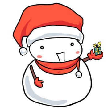 冬!クリスマス!サンタクロースの格好でプレゼントの箱を手に乗せている雪だるま かわいい無料イラスト素材(商用利用可)
