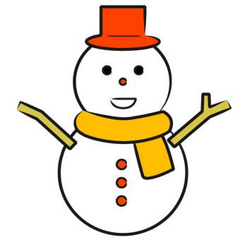 「雪だるま」フリーイラスト   シンプルフリーイラスト