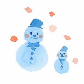 雪だるま|Sui-Sai|水彩画イラストフリー素材集