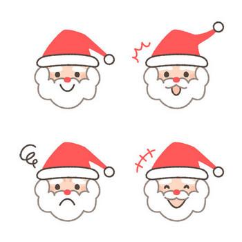 サンタクロースの表情イラスト4種 | 可愛い無料イラスト・人物素材 - フリーラ -