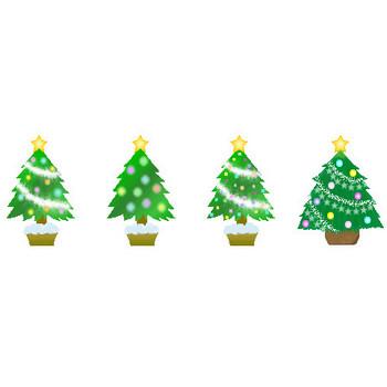 クリスマスの素材【クリスマスツリー】アイコン・イラスト HPフリー素材(無料)