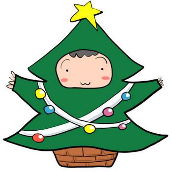 冬!クリスマスツリー風の衣装を着る男の子|かわいい無料イラスト素材(商用利用可)