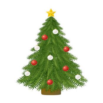 クリスマスツリー、クリスマスリース ラブクラフト 無料イラスト素材