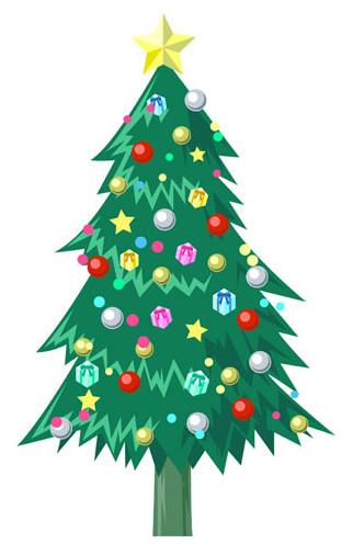 クリスマス-クリスマスツリー01:冬のそざい:キッズ@nifty