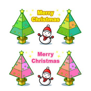 クリスマス(ツリーと雪だるま)の無料イラスト|フリー素材|素材プチッチ