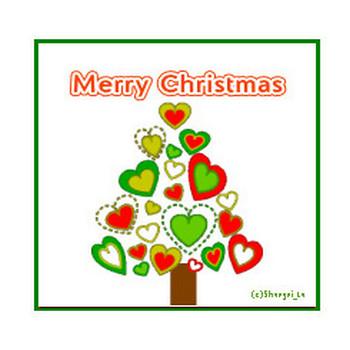 クリスマスの無料イラスト・ポップなハートのクリスマスツリーw