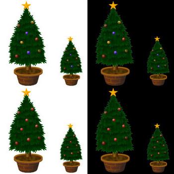 クリスマス、お正月、冬・季節素材の無料ダウンロード~もみの木を飾り付けてクリスマスツリー(イラストカット)★Cafepuff Design 無料素材配布所★加工、商用サイト利用可