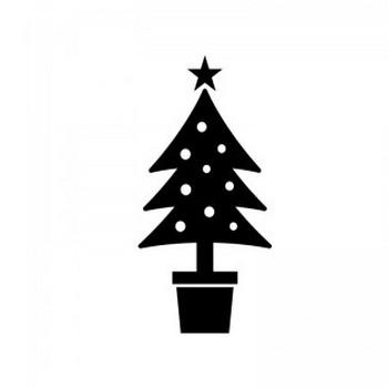 クリスマスツリーのシルエット | 無料のAi・PNG白黒シルエットイラスト