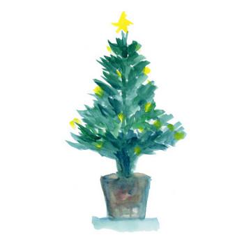 クリスマスツリー|Sui-Sai|水彩画イラストフリー素材集