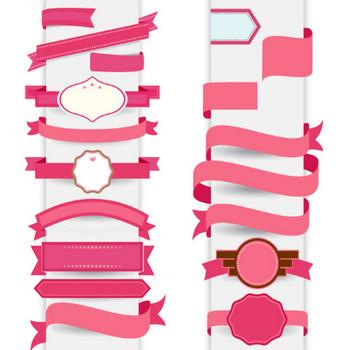 リボンピンク装飾テンプレート ベクター画像 | 無料ダウンロード