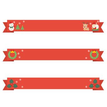 【12月/冬のイラスト】クリスマスのリボンイラスト(サンタ/トナカイ/ツリー/リース/雪だるま/柊) | 無料フリーイラスト素材集【Frame illust】