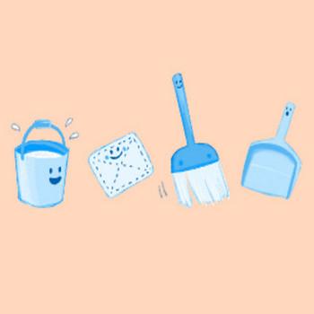 » お掃除道具のイラスト(バケツ・雑巾・ほうき・ちりとり) / ほのぼのかわいい | 可愛い無料イラスト素材集