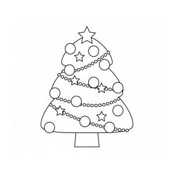 ぬりえ素材・クリスマスツリー・冬 | イラスト無料・かわいいテンプレート