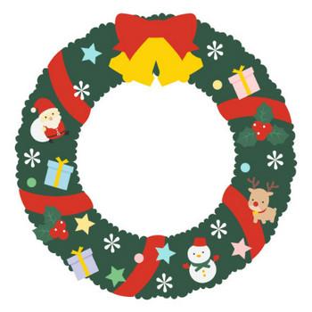 【12月/冬のイラスト】クリスマスリースのフレーム飾り枠 | 無料フリーイラスト素材集【Frame illust】