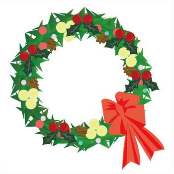 クリスマスリースのイラスト | イラスト素材パラダイス 商用利用無料のイラスト素材