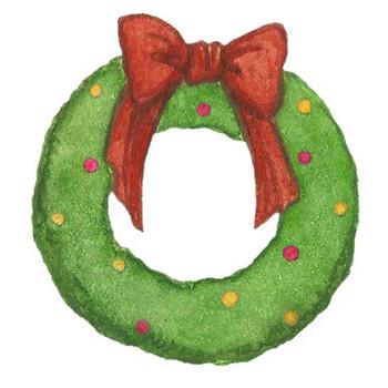 クリスマスリースのイラスト | かわいいフリー素材が無料のイラストレイン
