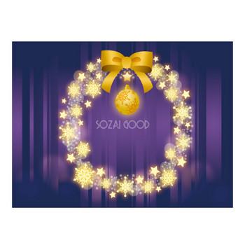 フリー背景イラスト冬「光る結晶のクリスマスリース」36531 | 素材Good