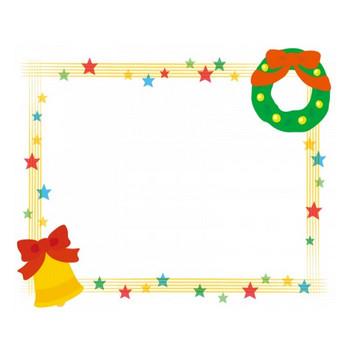 キラキラ星とクリスマスリースの四角フレーム飾り枠イラスト | 無料イラスト かわいいフリー素材集 フレームぽけっと