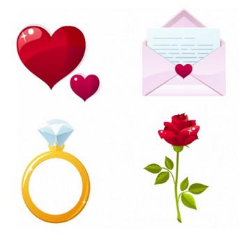 バレンタインデー素材のクリップアート Heart valentine elements vector:Free Vector 4 You