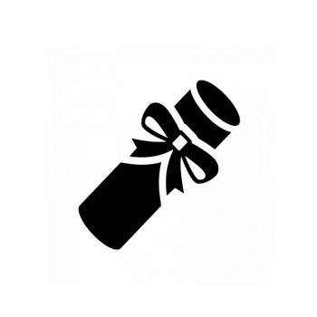 卒業証書のシルエット   無料のAi・PNG白黒シルエットイラスト