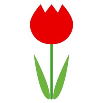 チューリップ(赤)のシンプルイラスト <無料>   イラストK