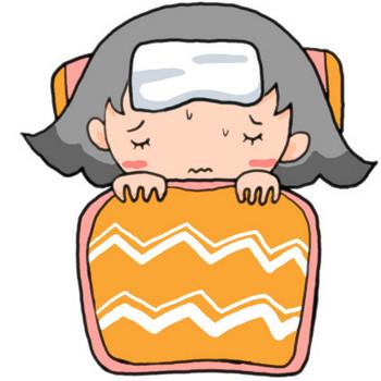 風邪?インフルエンザ?発熱のため頭を冷やして布団でおとなしくする女の子|かわいい無料イラスト素材(商用利用可)
