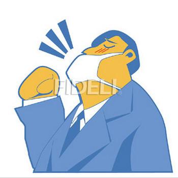 風邪をひいたビジネスマンのイラスト01のダウンロード|フィデリ・ビジネス文書集