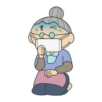 風邪をひくおばあちゃん 無料イラスト | 素材Good