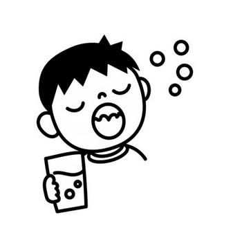 うがい・風邪予防の白黒イラスト | かわいい無料の白黒イラスト モノぽっと