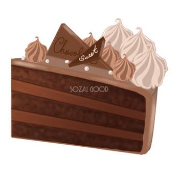 チョコレートケーキ 食べ物 無料イラスト | 素材Good