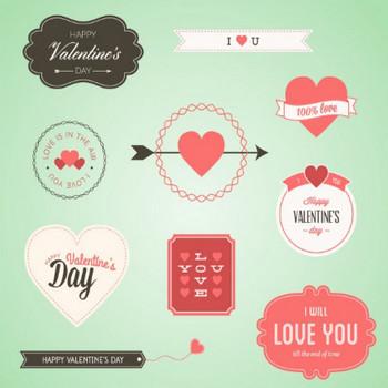 素敵なバレンタインバッジセット ベクター画像 | 無料ダウンロード