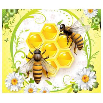 蜜蜂と蜂の巣 Two beautiful bees flying above honey   ai eps イラストレーター