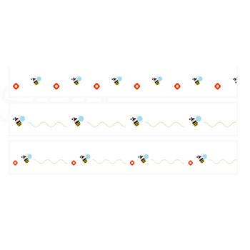 蜂とお花の組み合わせイラストライン | 罫線・飾り罫ライン素材 FREE LINE DESIGN