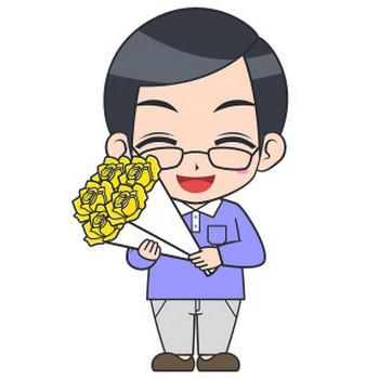 父の日に黄色いバラをもらうお父さんのイラスト【無料・フリー】