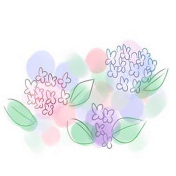 » 絵手紙風な淡いタッチの紫陽花のフリーイラスト素材。HP素材のおすそわけ。blog