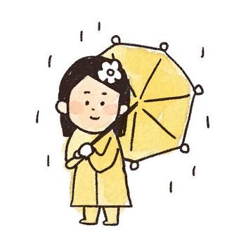 傘を持った女の子のイラスト(梅雨): ゆるかわいい無料イラスト素材集