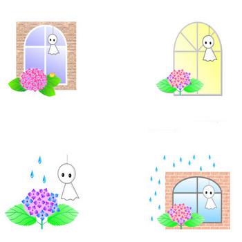 イラスト(てるてる坊主)梅雨