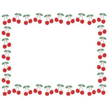 [果物・フルーツ]さくらんぼ(チェリー)のフレーム飾り枠イラスト | 無料フリーイラスト素材集【Frame illust】