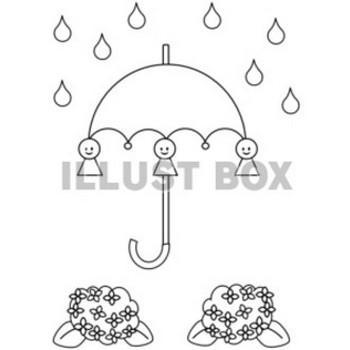 無料イラスト 塗り絵 梅雨の雨