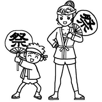 お祭りわっしょい!(白黒)/夏祭りの無料イラスト/夏の季節・行事素材