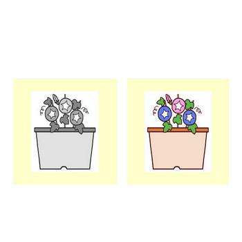 アサガオ(朝顔)1/花/枠・ふきだし/無料イラスト【みさきのイラスト素材】