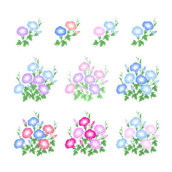 夏の花-朝顔(アサガオ・あさがお)のアイコン・イラスト素材~HPフリー素材