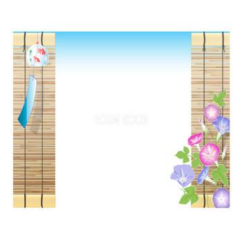 すだれと金魚模様の風鈴と朝顔の綺麗な背景無料イラスト/夏47022 | 素材Good
