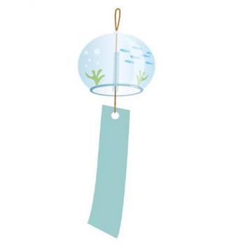 夏の風物詩、ガラスの風鈴のイラスト | 【無料配布】イラレ/イラストレーター/ベクトル パスデータ保管庫【ai・eps ベクター素材】